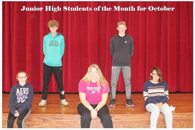 Junior High Students of the Month for October