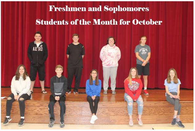 Freshmen and Sophomore students of the month for October
