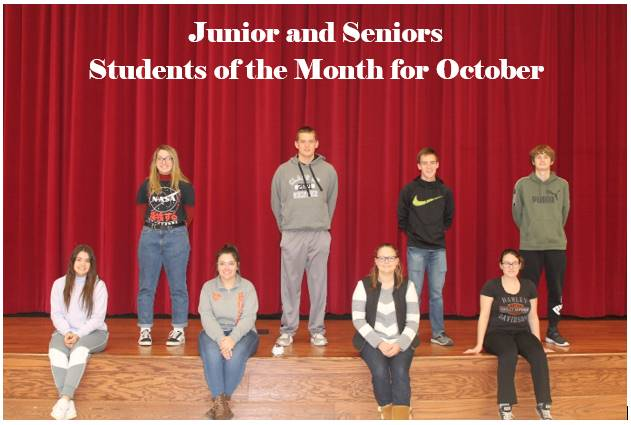 Junior and Senior students of the month for October